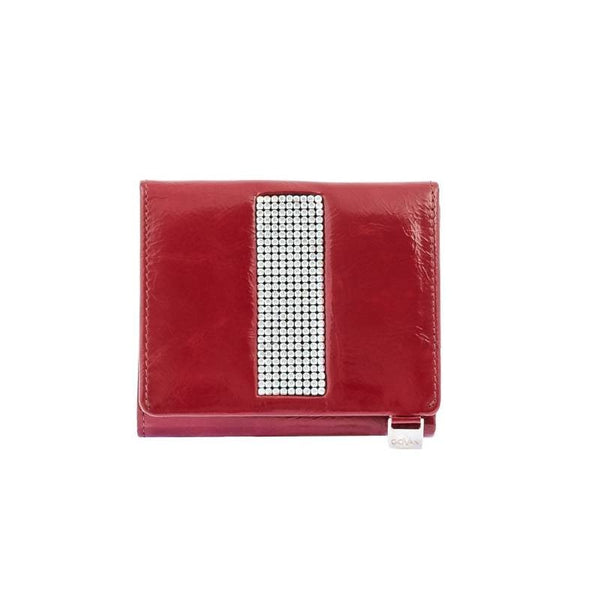 Italian Red Leather Ladies Purse With Swarovski Crystals
