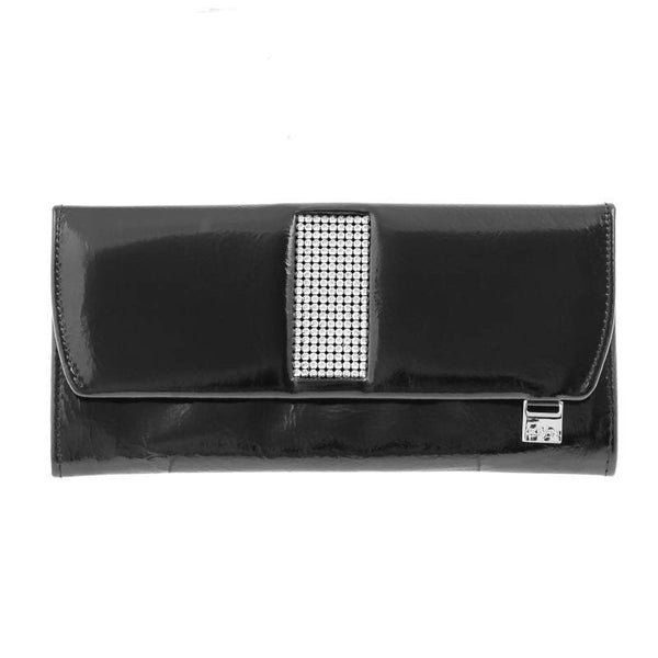 Giovani Black Leather Ladies Purse with Swarovski Crystals - Blaxton