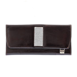 Giovani Brown Leather Ladies Purse with Swarovski Crystals - Blaxton