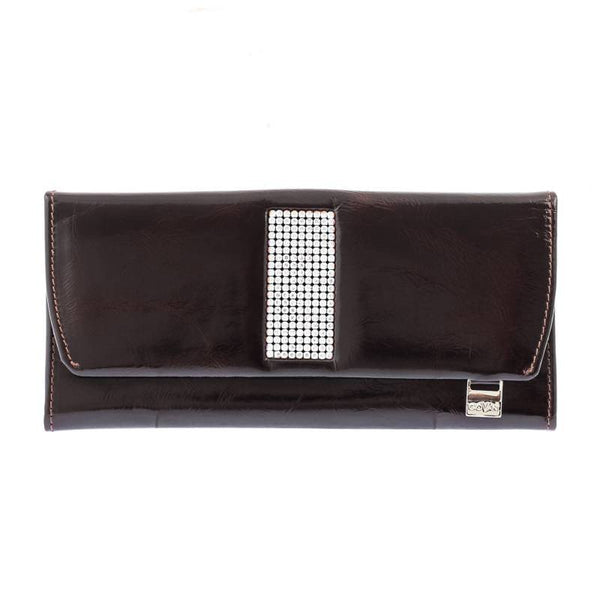 Giovani Brown Leather Ladies Purse with Swarovski Crystals
