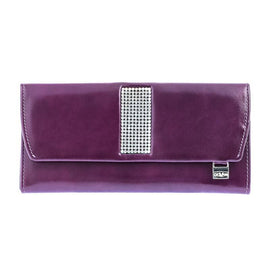Giovani Purple Leather Ladies Purse with Swarovski Crystals - Blaxton