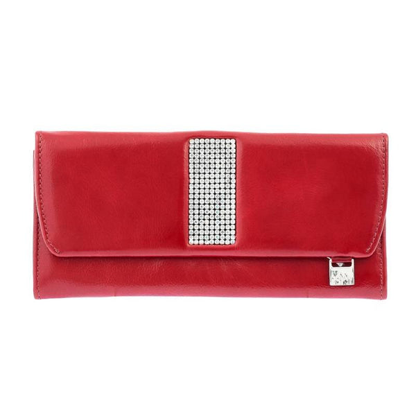Red Leather ladies Purse with Swarovski Crystals