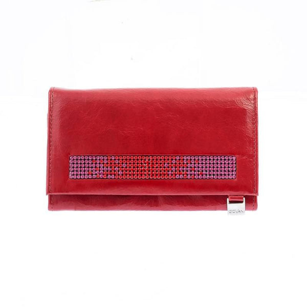 Italian Leather Ladies Purse With Swarovski Crystals