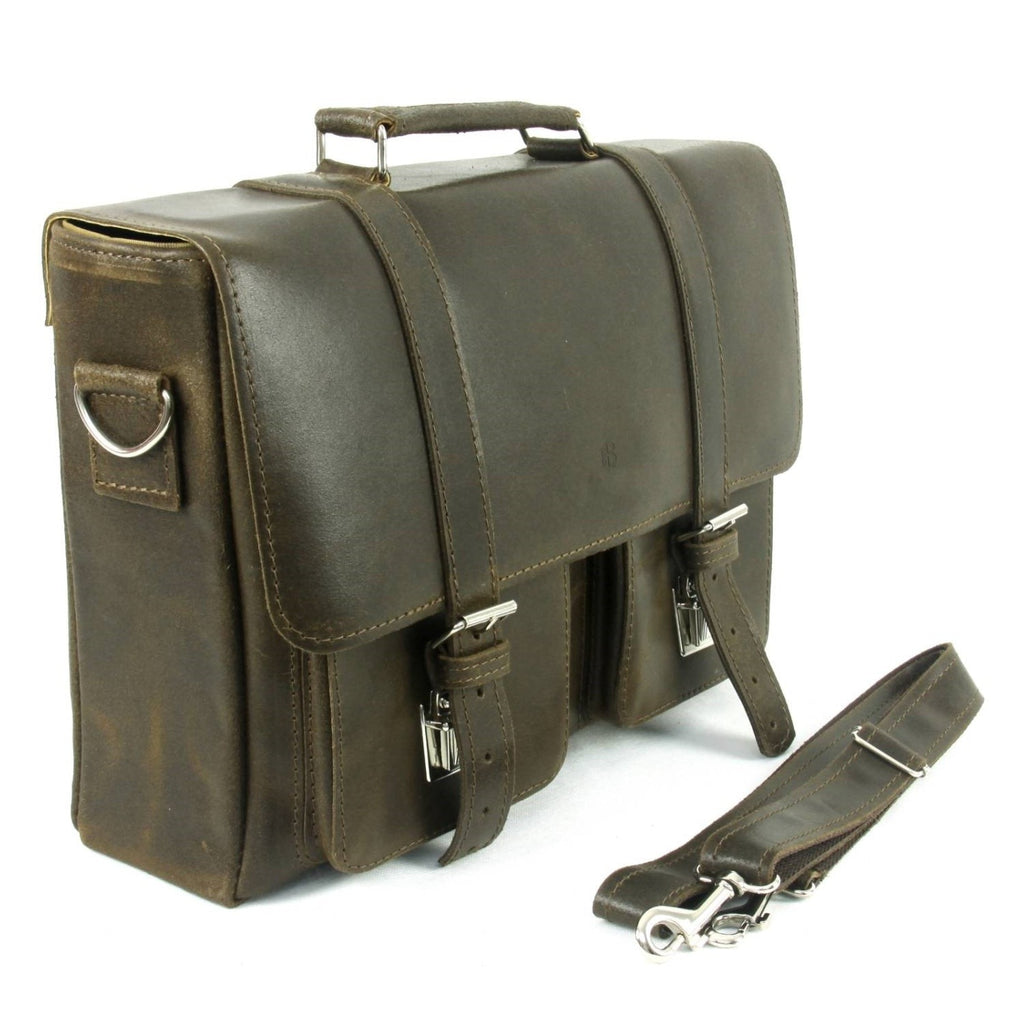 Dark Brown Waxed Leather Messenger Bag