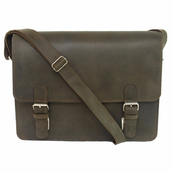 Dark Brown Waxed Leather Messenger Bag Satchel