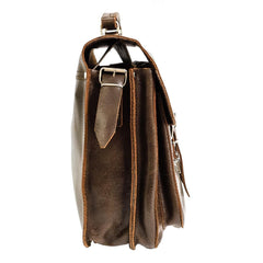 Brown Waxed Leather Large Messenger Bag