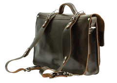 Dark Brown Leather Messenger Bag Backpack from Blaxton