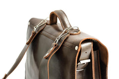 Dark Brown Leather Messenger Bag Backpack