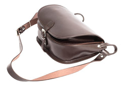 Dark Brown Leather Satchel Saddle Bag
