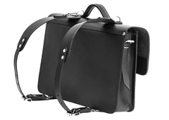 Black Leather Large Satchel Bag Backpack from Blaxton