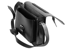 Black Leather Large Satchel Bag Backpack