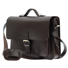 Dark Vegetable Tanned Leather Satchel from Blaxton