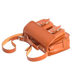 Orange Brown Leather Ladies Small Satchel from Blaxton