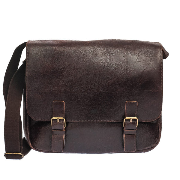 Brown Distressed Leather Messenger Bag