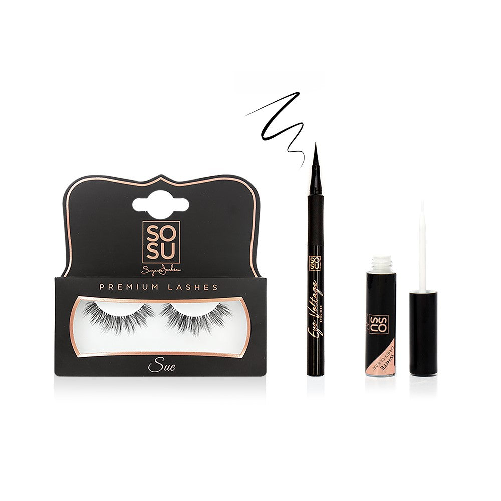 Sue Lashes, Glue & Matte Liner Bundle