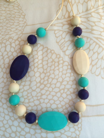 Mixed Bead Teething Necklace - Turquoise Beach