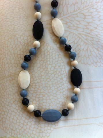 Full Length, Mixed Bead Teething Necklace - Shades of Grey
