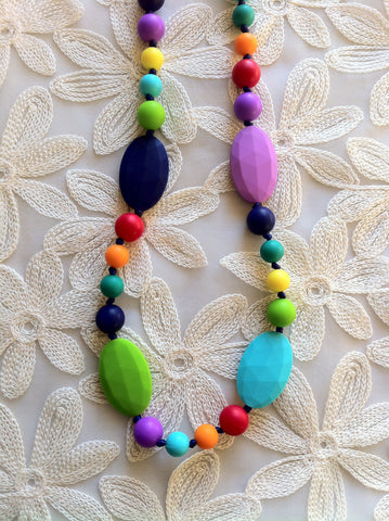 Full Length, Mixed Bead Teething Necklace - Bright & Playful
