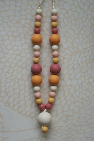 Mixed Bead Teething Necklace - Colours of Fall