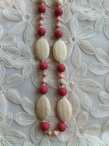 Full Length, Mixed Bead Teething Necklace - Shades of Pink