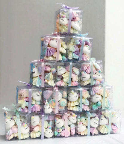 Unicorn Fairyfloss Hairs and Unicorn Meringues Kisses (Cubes & Tubs)