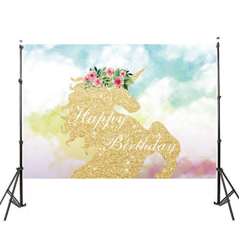 Unicorn Backdrop (Gold Cartoon Design)