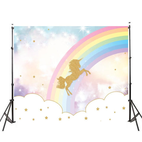 Unicorn Backdrop (Rainbow Stars Design)