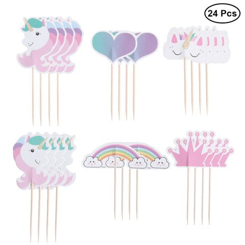 Unicorn Cake Toppers (Rainbow - 24pcs)