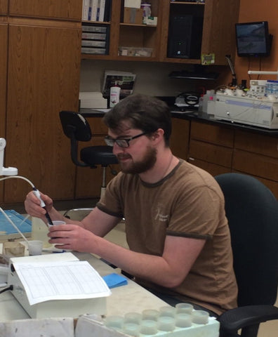 New A&L employee Steven Piercy working in the lab