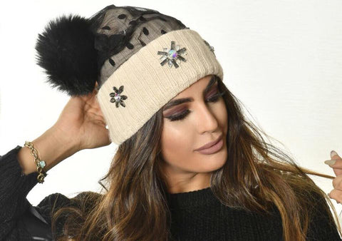 Swarovski Fur Bobble Hat