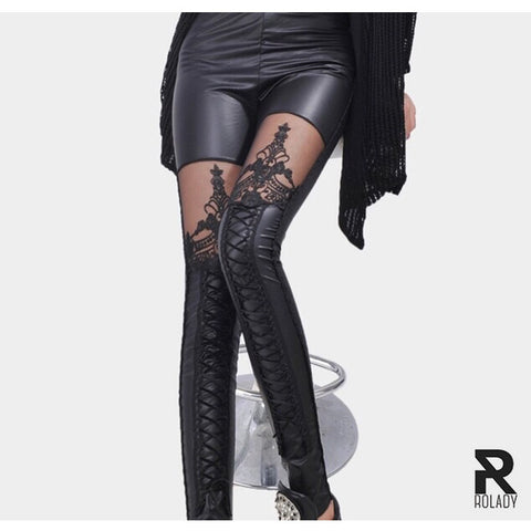 Rolady Leather Lace Embroidery Leggings (ask for your offer)