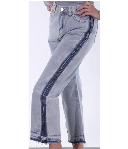 High-rise striped Jeans