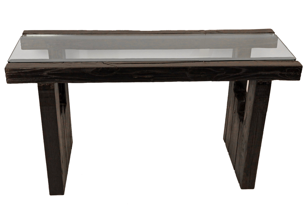 Burnt Oak Console with Glass