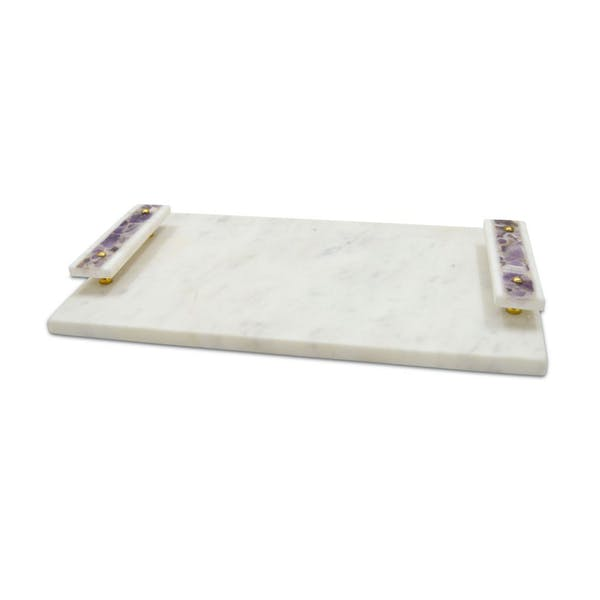 Marble Tray with Amethyst Handles