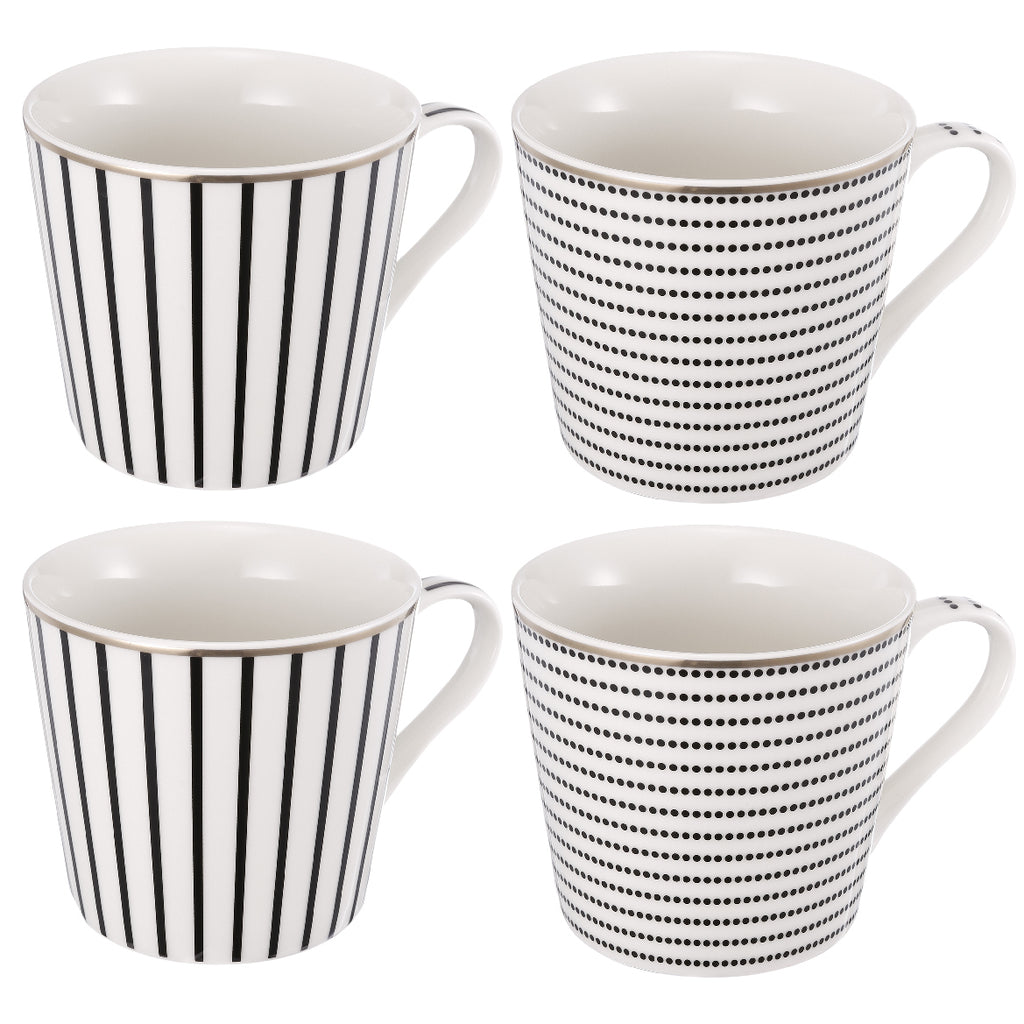 Black & White Striped Coffee Mug