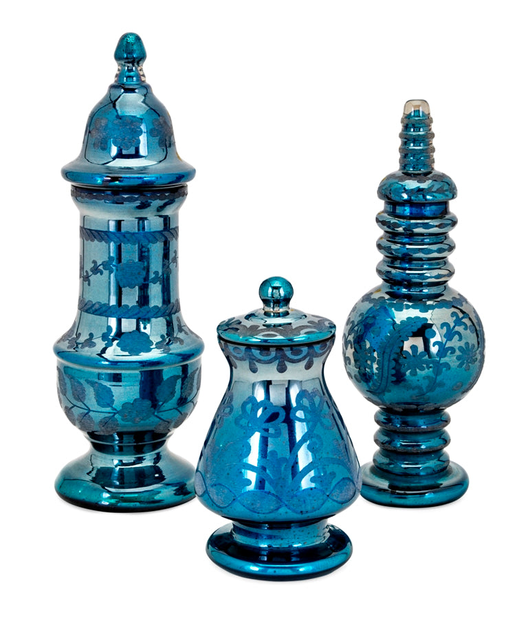 Mia Mercury Glass Etched Blue Jars