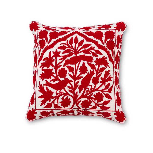 Cardinal and Leaf Embroidered Pillow