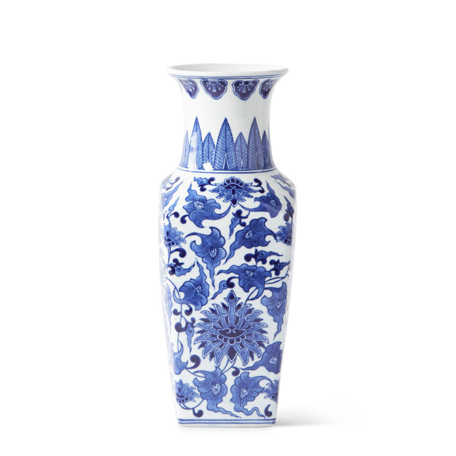 Blue and White Chinoiserie Square Vase