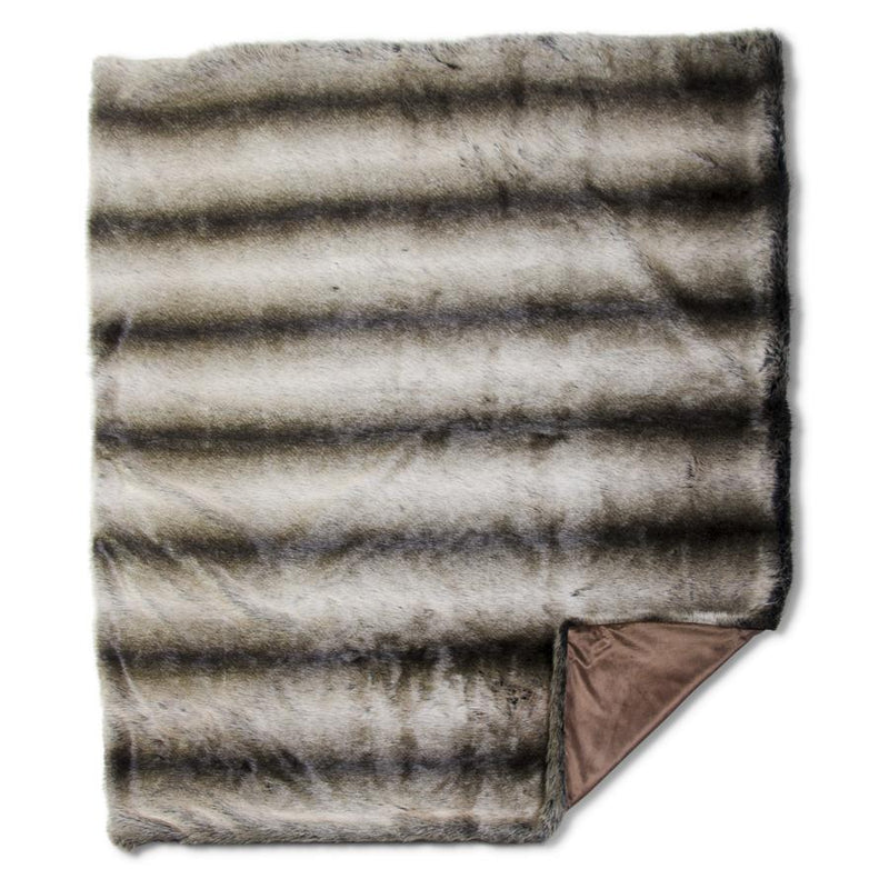 Brown Three Tone Faux Fur Throw Blanket