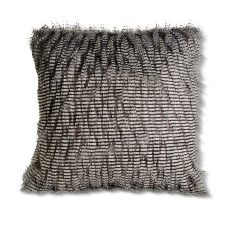 "18"" Grey Three Tone Faux Fur Throw Pillow"