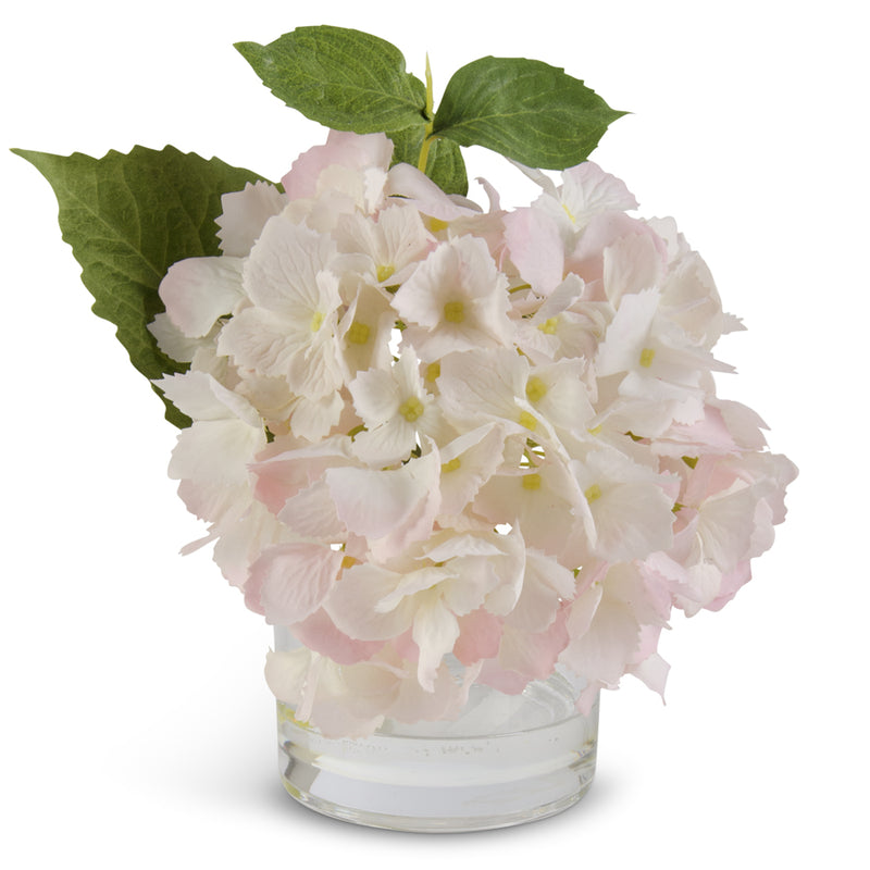 Sweet Pink Hydrangea in Glass Vase