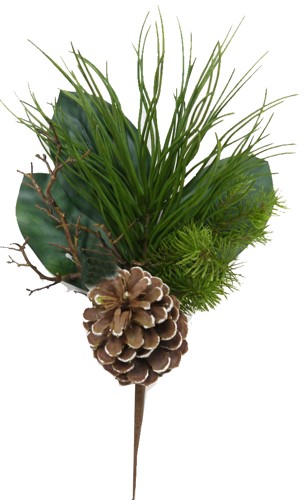 Mixed Evergreen Pick with Pinecones