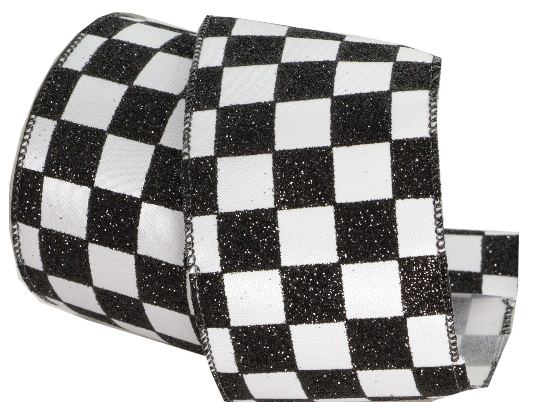 Glitter Black White Check Ribbon