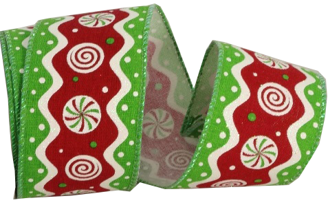 Green Red Peppermint Ribbon