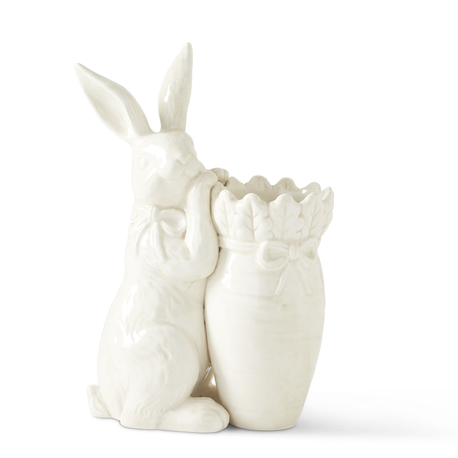 Antique White Rabbit with Carrot Vase