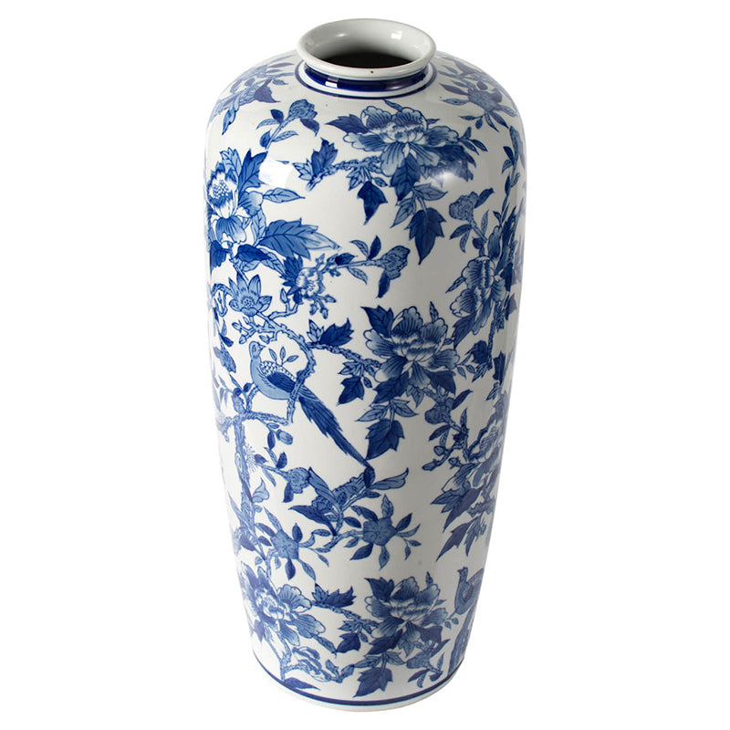 Blue and White Floral Bird Vase