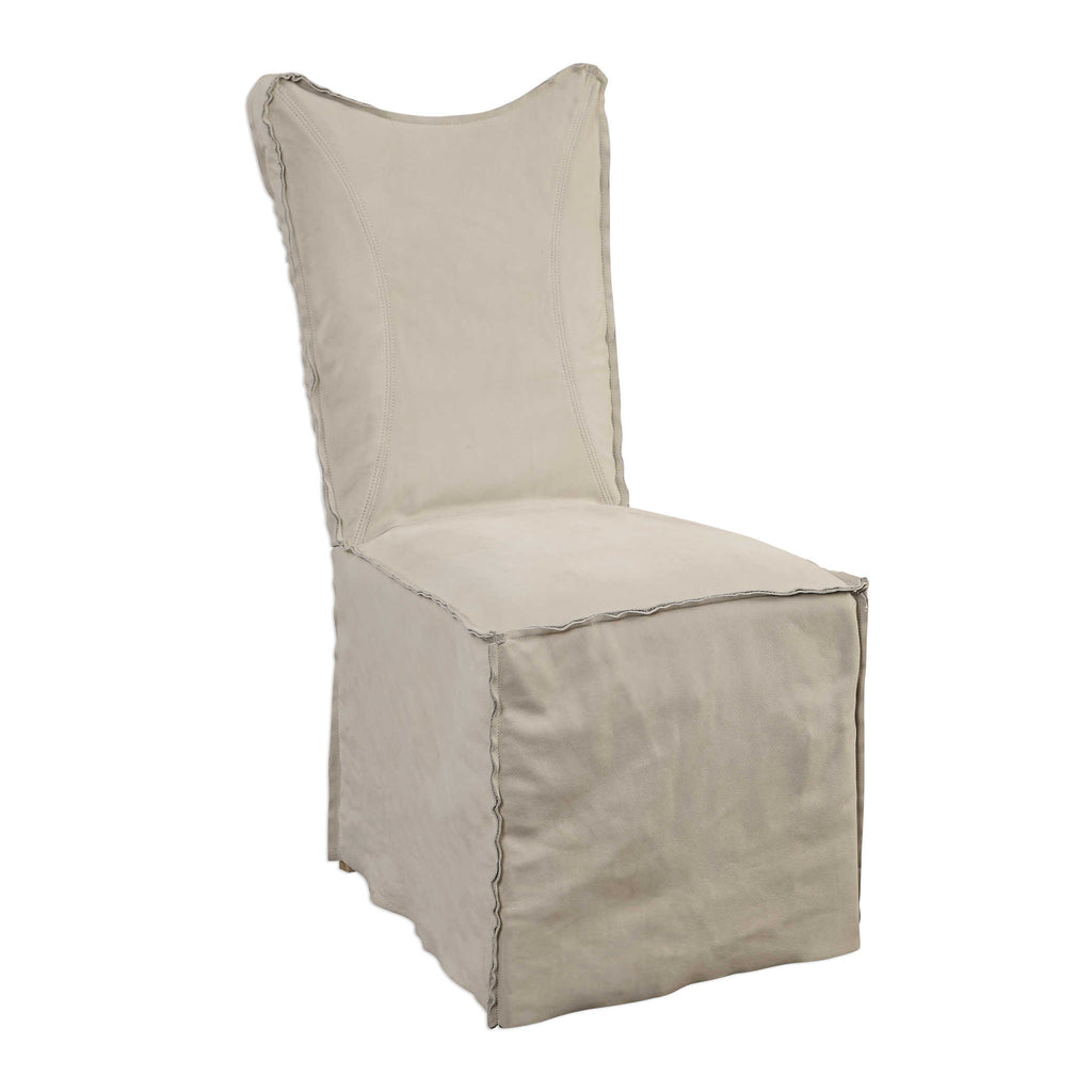 Delores Leather Slip Cover Chair