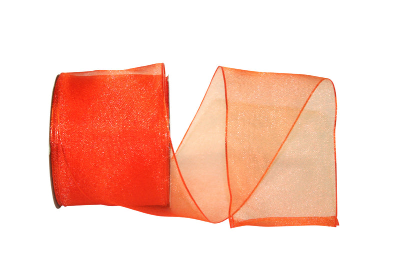 Orange Sheer Elegant Woven Ribbon