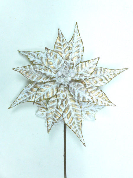 Crackle Gold and White Poinsettia Stem