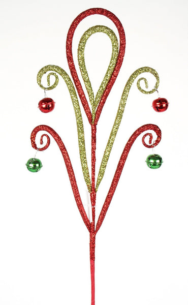 Red and Green Glitter Swirl Spray with Jingle Bells